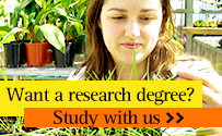 Want a research degree? Study with us. Find out more.