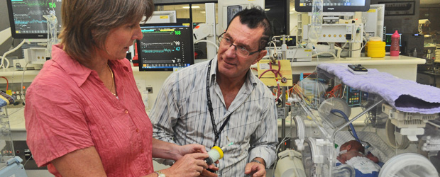 Professor Karen Reynolds demostrates medical device technology