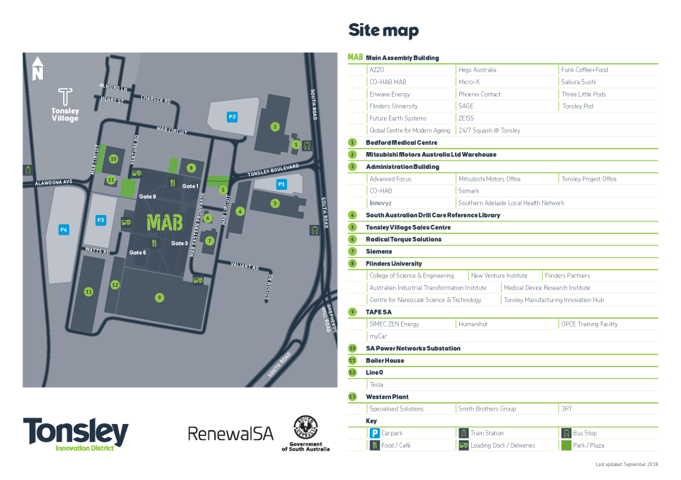 Tonsley precinct map