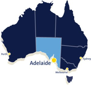Adelaide's location - map